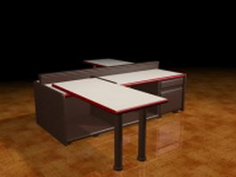 Z shaped office workstation 3d preview
