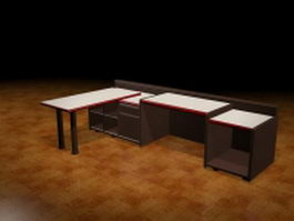 Office workstation units 3d preview