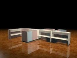 Modern cubicle workstation 3d model preview