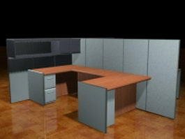 2 Person U shaped cubicle workstation 3d preview
