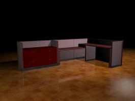 L shaped cubicle desk 3d preview
