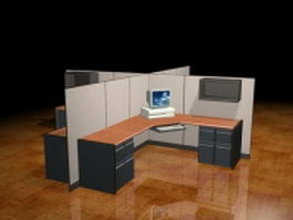 4-cubicle office workstation 3d preview