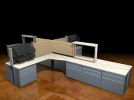 Four cubicles workstation 3d model preview
