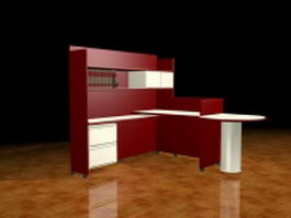 Red executive workstation furniture 3d preview