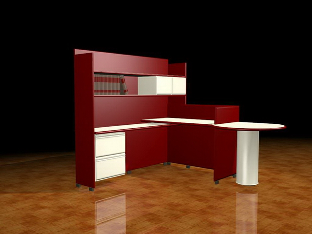 Red executive workstation furniture 3d rendering