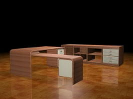 Modern office executive desk collection 3d preview