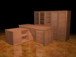 Executive office desk and storage cabinet 3d preview