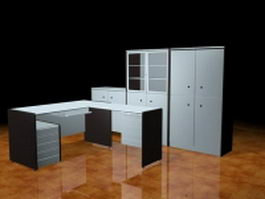 Executive desk furniture collection 3d preview
