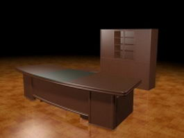 Curved executive desk 3d model preview