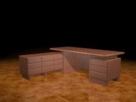 L shaped executive desk 3d preview