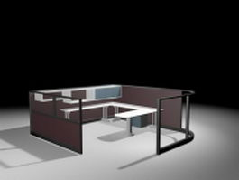 Office partition with U shaped cubicle desk 3d preview