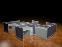 4 Person cubicle workstation 3d preview