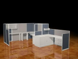 Office cubicle partitions 3d preview