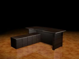 Dark wood executive desk 3d preview