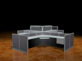4 person workstation partition 3d preview