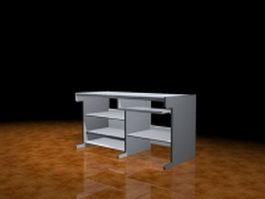 White computer desk 3d model preview