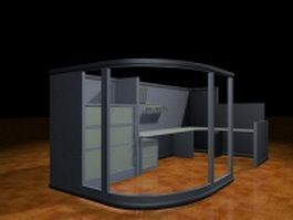 Glass cubicle partitions 3d model preview