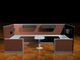 Two person cubicle partition 3d model preview