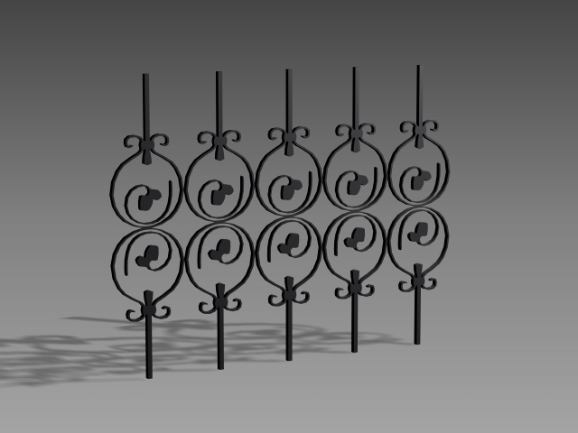 Cast iron fence inserts 3d model 3dsMax,3ds,AutoCAD files