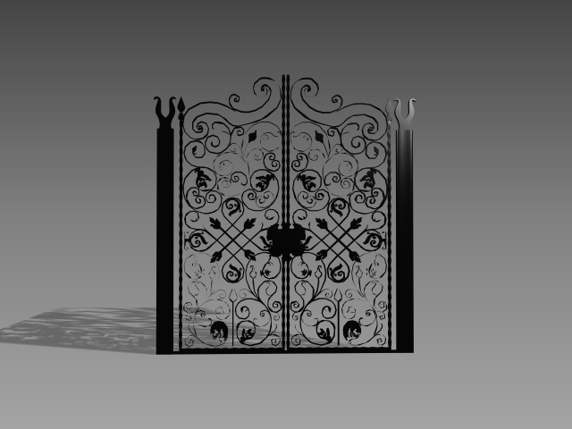 Antique wrought iron gate 3d rendering