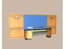 Front office desk with back wall 3d preview