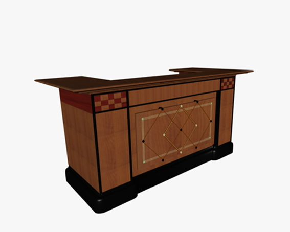 Traditional reception desk 3d rendering