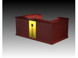 Traditional redwood reception desk 3d preview