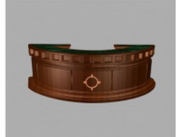 Curved reception desk furniture 3d preview