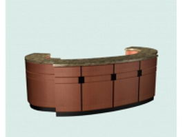 Oval reception counter 3d preview