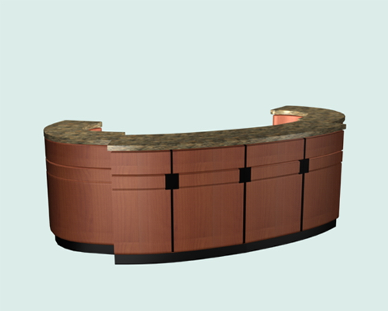 Oval reception counter 3d rendering