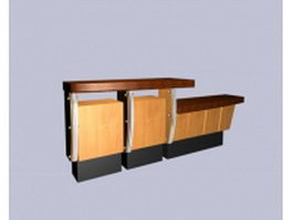 Modern reception counter design 3d preview