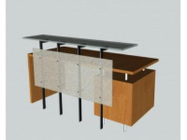 Salon reception desk 3d preview