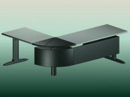 Modern corner office desk 3d model preview