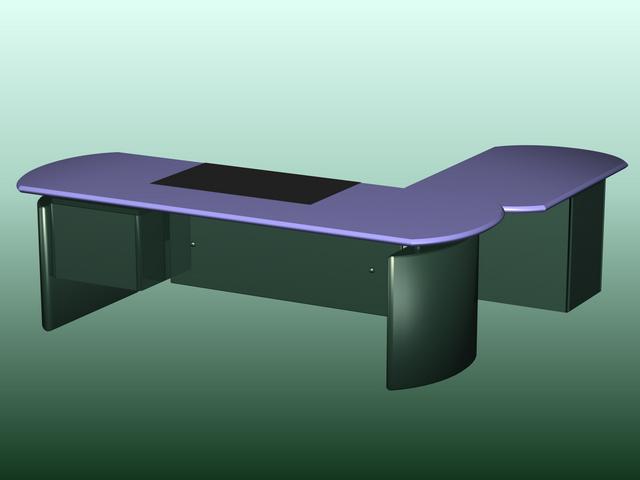 Minimalist office table 3d rendering