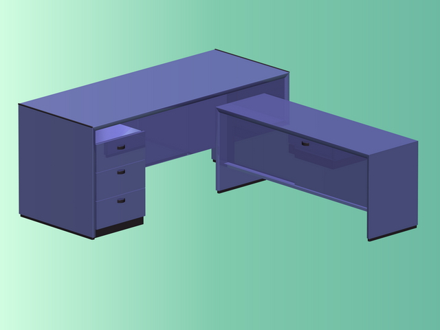 L shaped office table 3d rendering