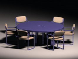 Round conference table and chairs 3d model preview