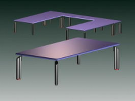 Office work benches 3d model preview