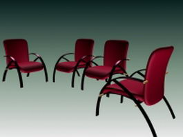 Comfortable office chairs collection 3d model preview