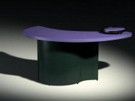 Crescent moon shape reception desk 3d model preview