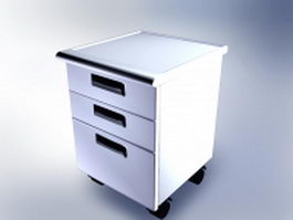 3-Drawer mobile file cabinet 3d preview