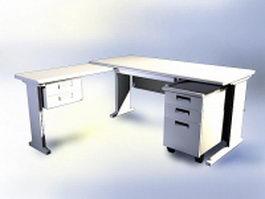 Modern white office desk 3d model preview