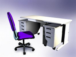 White office desk with hutch 3d model preview