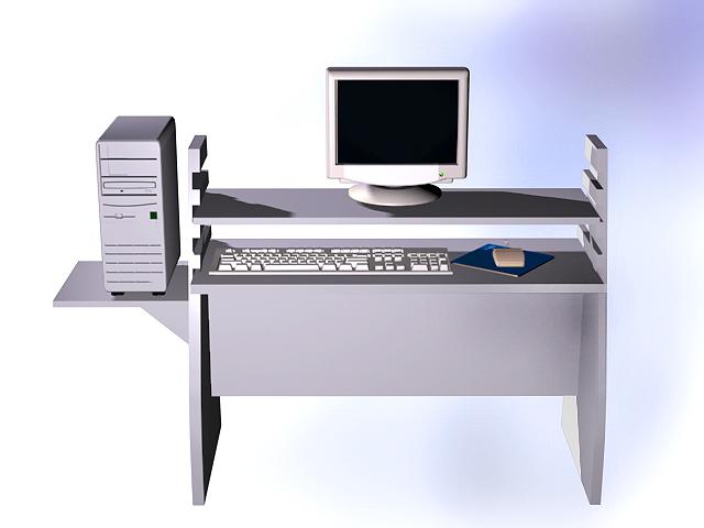 Office computer desk 3d rendering