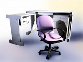 Office desk with chair 3d model preview