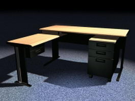 L shaped office desk with hutch 3d model preview