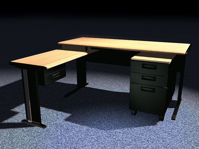 L shaped office desk with hutch 3d rendering