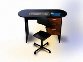 Computer desk with chair 3d model preview