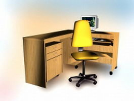 Office computer desk with chair 3d model preview