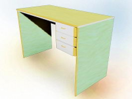 Office desk with drawers 3d model preview