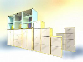 Office wall cabinets collection 3d model preview